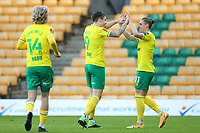 9th January 2021; Carrow Road, Norwich, Norfolk, England, English FA Cup Football, Norwich versus Coventry City; Jordan Hugill of Norwich City celebrates with Przemysław Placheta after he scores for 2-0 in the 7th minute