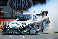 Sept 9, 2012; Clermont, IN, USA: NHRA funny car driver Mike Neff during the US Nationals at Lucas Oil Raceway. Mandatory Credit: Mark J. Rebilas-