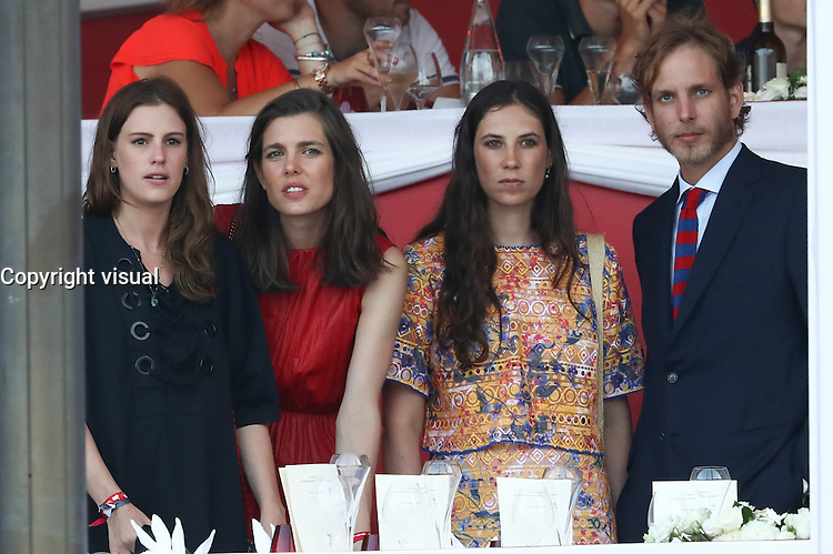 --- NO TABLOIDS NO SITE --- Monaco Princely Family attends the 'Grand Prix du Prince' at the Longines Global Champions Tour of Monaco. Charlotte Casiraghi, brother Andrea Casiraghi with his wife Tatiana Santo Domingo and sister H.R.H. Princess Alexandra of Hanover.