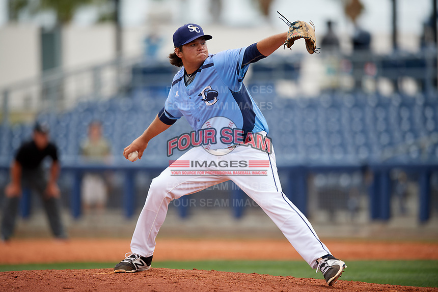 Charlotte Stone Crabs relief pitcher Ian Gibaut (33) delivers a pitch during a game against the Palm Beach Cardinals on April 12, 2017 at Charlotte Sports Park in Port Charlotte, Florida.  Palm Beach defeated Charlotte 8-7.  (Mike Janes/Four Seam Images)