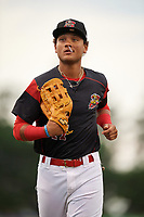 Batavia Muckdogs center fielder Ricardo Cespedes (47) jogs to the dugout during a game against the Williamsport Crosscutters on August 3, 2017 at Dwyer Stadium in Batavia, New York.  Williamsport defeated Batavia 2-1.  (Mike Janes/Four Seam Images)