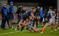 19th December 2020; AJ Bell Stadium, Salford, Lancashire, England; European Champions Cup Rugby, Sale Sharks versus Edinburgh;   Sam James of Sale Sharks  is tackled by  Chris Dean of Edinburgh Rugby