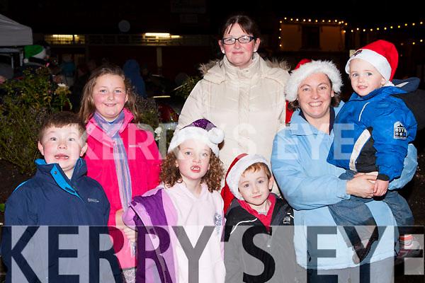 Cian, Grainne, Aoife, Dara, Mary, Sarah and Killian O'Mahony at the Kenmare Christmas celebrations on Saturday night
