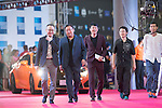 She Huan, Tian Yusheng, and Ding Ding walk the Red Carpet event at the World Celebrity Pro-Am 2016 Mission Hills China Golf Tournament on 20 October 2016, in Haikou, China. Photo by Victor Fraile / Power Sport Images