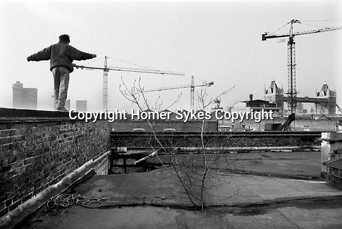 Butlers Wharf  building the Docklands development 1980s London UK.  Derelict warehouse Tower Bridge Southwark, Bermondsey, South East London. 1987