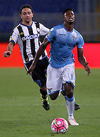 Calcio, Serie A: Lazio vs Udinese. Roma, stadio Olimpico, 13 settembre 2015.<br /> Lazio's Keita Diao, right, is chased by Udinese's Manuel Iturra during the Italian Serie A football match between Lazio and Udinese at Rome's Olympic stadium, 13 September 2015.<br /> UPDATE IMAGES PRESS/Isabella Bonotto