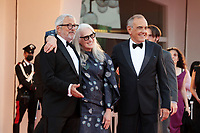 VENICE, ITALY - SEPTEMBER 11: La Biennale Di Venezia President Roberto Cicutto, director Jane Campion and Director of the festival Alberto Barbera attend the closing ceremony red carpet during the 78th Venice International Film Festival on September 11, 2021 in Venice, Italy. <br /> CAP/MPI/AF<br /> ©AF/MPI/Capital Pictures