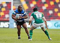 27th March 2021; Brentford Community Stadium, London, England; Gallagher Premiership Rugby, London Irish versus Bath; Ben Obano of Bath is marked by Matt Rogerson of London Irish