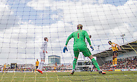 Souleymane Coulibaly of Newport County heads wide of goal during the Sky Bet League 2 match between Newport County and Notts County at Rodney Parade, Newport, Wales on 30 April 2016. Photo by Mark  Hawkins / PRiME Media Images.