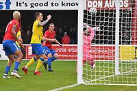Matt Robinson of Dagenham & Redbridge FC scores the second Goal and celebrates during Dagenham & Redbridge vs Altrincham, Vanarama National League Football at the Chigwell Construction Stadium on 2nd October 2021