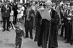 Great Torrington Devon UK. May Fair. 1970. The Town Clerk opening the Mayfair, reads from the Charter declaring the fair open. It is believed to have been going on since 1554. It takes place on the first Thursday in May.
