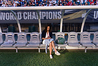 PHILADELPHIA, PA - AUGUST 29: Kate Markgraf of the United States sits on the bench prior to a game between Portugal and the USWNT at Lincoln Financial Field on August 29, 2019 in Philadelphia, PA.