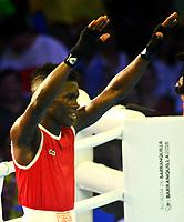 BARRANQUILLA - COLOMBIA, 28-07-2018:En el cuadrilatero Yuberjen Martínez (COL) esquina roja vs  Yoali Mejía (MEX) ,categoría 49 kg semifinal.Juegos Centroamericanos y del Caribe Barranquilla 2018. /They fight in the quadrilateral Yuberjen Martinez (COL) vs. Yoali Mejia (MEX), category 49 kg semifinal. of the Central American and Caribbean Sports Games Barranquilla 2018. Photo: VizzorImage /  Contribuidor