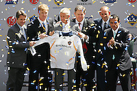 LA Galaxy (Left to Right) Head Coach Frank Yallop, President Alexi Lalas, David Beckham,   Owner Timothy Leiweke, MLS President Don Garber and Los Angeles Mayor Antonio Villaraigosa during the David Beckham, LA Galaxy press conference at the Home Depot Center in Carson, California, Friday, July 13, 2007.