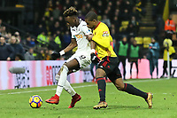 (L-R) Tammy Abraham of Swansea City (L) during the Premier League match between Watford and Swansea City at the Vicarage Road, Watford, England, UK. Saturday 30 December 2017