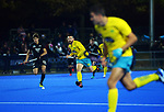 Australia's Trent Mitton looks for support during the Sentinel Homes Trans Tasman Series hockey match between the New Zealand Black Sticks Men and the Australian Kookaburras at Massey University Hockey Turf in Palmerston North, New Zealand on Tuesday, 1 June 2021. Photo: Dave Lintott / lintottphoto.co.nz