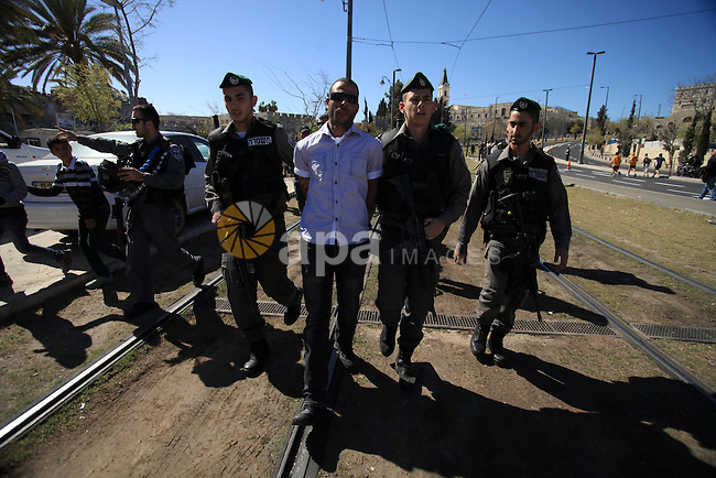 Israeli police officers detain a Palestinian protester during a protest against the annual Jerusalem Marathon in the Old City on March 21, 2014. More than 15,000 runners from 50 different countries participated in the annual sporting event included running tracks for full and half marathons which passed through a section of Jerusalem's Old City. Photo by Saeed Qaq