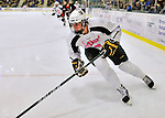 28 January 2012: University of Vermont Catamount forward Sebastian Stalberg, a Junior from Gothenburg, Sweden, in action against the Northeastern University Huskies at Gutterson Fieldhouse in Burlington, Vermont. The Catamounts, dressed in their Breast Cancer Awareness jerseys, fell to the Huskies 4-2 in the second game of their 2-game Hockey East weekend series. Mandatory Credit: Ed Wolfstein Photo