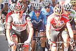Race leader Red Jersey Primoz Roglic (SLO) Jumbo-Visma, Rafal Majka (POL) UAE Team Emirates, Enric Mas (ESP) Movistar Team and White Jersey Egan Bernal (COL) Ineos Grenadiers during Stage 7 of La Vuelta d'Espana 2021, running 152km from Gandia to Balcon de Alicante, Spain. 20th August 2021.     <br /> Picture: Luis Angel Gomez/Photogomezsport | Cyclefile<br /> <br /> All photos usage must carry mandatory copyright credit (© Cyclefile | Luis Angel Gomez/Photogomezsport)