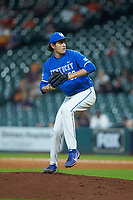 Kentucky Wildcats relief pitcher Jimmy Ramsey (38) in action against the Louisiana Ragin' Cajuns in game seven of the 2018 Shriners Hospitals for Children College Classic at Minute Maid Park on March 4, 2018 in Houston, Texas.  The Wildcats defeated the Ragin' Cajuns 10-4. (Brian Westerholt/Four Seam Images)