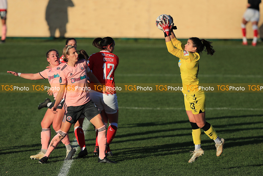 Charlton Eartha Cummings claims a ball in the air during a corner during Charlton Athletic Women vs Sheffield United Women, FA Women's Championship Football at The Oakwood on 22nd November 2020