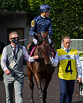August 14, 2021 : SANTA BARBARA, #4, ridden by jockey Ryan Moore, wins the Bev D on Mister D Stakes Day at Arlington Park Racecourse on August 14, 2021 in Arlington Heights, Illinois. Nicole Thomas/Eclipse Sportswire/CSM
