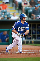 Oklahoma City Dodgers outfielder Scott Schebler (8) at bat during a game against the Fresno Grizzles on June 1, 2015 at Chickasaw Bricktown Ballpark in Oklahoma City, Oklahoma.  Fresno defeated Oklahoma City 14-1.  (Mike Janes/Four Seam Images)