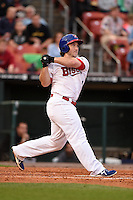 Buffalo Bisons first baseman Brett Wallace (14) at bat during a game against the Syracuse Chiefs on July 23, 2014 at Coca-Cola Field in Buffalo, New  York.  Syracuse defeated Buffalo 5-0.  (Mike Janes/Four Seam Images)