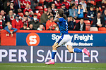 Aberdeen v St Johnstone…18.09.21  Pittodrie    SPFL<br />Stevie May runs to the Aberdeen fans to celebrate his goal<br />Picture by Graeme Hart.<br />Copyright Perthshire Picture Agency<br />Tel: 01738 623350  Mobile: 07990 594431