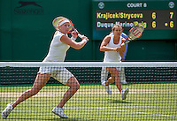 London, England, 4th July, 2016, Tennis, Wimbledon, Womans doubles Michaella Krajicek (NED) and Barbora Zahlavova Strycova (CZE) (R)<br /> Photo: Henk Koster/tennisimages.com