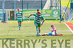 Dylan O'Callaghan Killarney Celtic  leaves James McDonnell  Mervue United in his wake during the FAI Youth Cup semi final in Celtic Park on Saturday