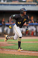 Bristol Pirates third baseman Sherten Apostel (47) runs to first base during a game against the Bluefield Blue Jays on July 26, 2018 at Bowen Field in Bluefield, Virginia.  Bristol defeated Bluefield 7-6.  (Mike Janes/Four Seam Images)