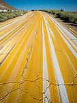 """Multiple striping on the pavement, Tonopah., Nev.<br /> <br /> (""""Yellow brick road"""")"""