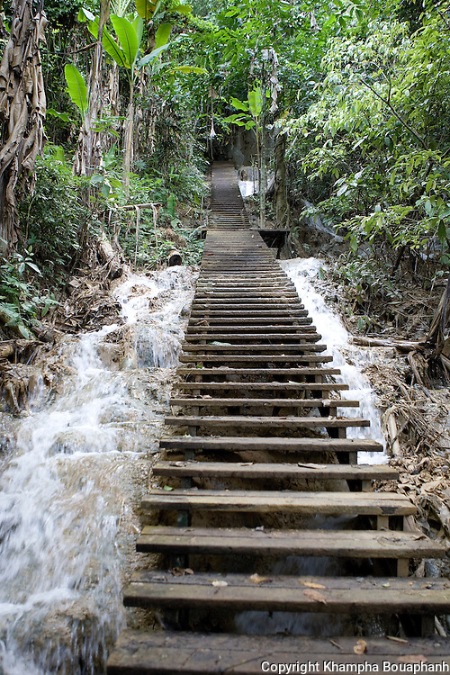 Stairs lead to the top of Koung Si waterfall near Luang Prabang, Laos on  Novemeber 6, 2009.   (Photo by Khampha Bouaphanh)