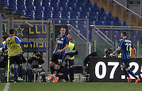 Calcio, Serie A: Roma vs Inter. Roma, stadio Olimpico, 19 marzo 2016.<br /> FC Inter's Ivan Perisic, center, celebrates with teammates after scoring during the Italian Serie A football match between Roma and FC Inter at Rome's Olympic stadium, 19 March 2016. The game ended 1-1.<br /> UPDATE IMAGES PRESS/Isabella Bonotto