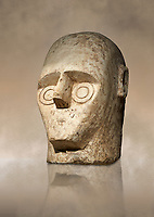 9th century BC Giants of Mont'e Prama Nuragic stone head from the statue of a boxer, Mont'e Prama archaeological site, Cabras. Museo archeologico nazionale, Cagliari, Italy. (National Archaeological Museum) - Art Background