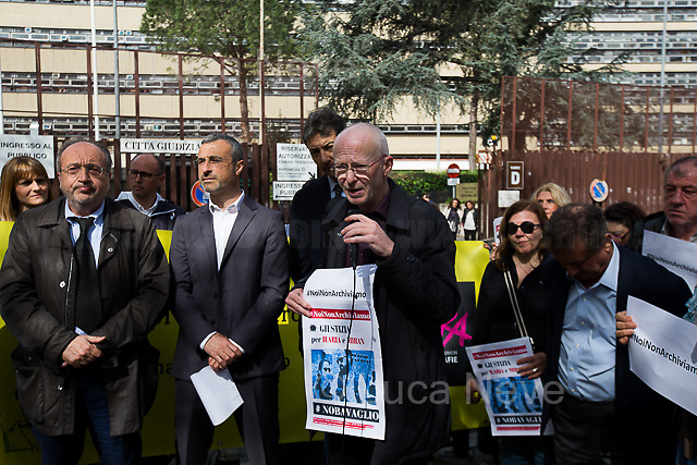 """Riccardo Noury (Spokesperson Amnesty International Italia).<br /> <br /> Rome, 17/04/2018. Today, journalists and their representatives, organizations, and members of the public gathered outside the Rome's Courts of Justice in Piazzale Clodio to protest against the proposal of the preliminary investigations Judge to close and archive the investigations and the proceedings into the murder of the RAI TG3 (State broadcaster Rai's third channel) journalist Ilaria Alpi and her camera operator Miran Hrovatin, killed in circumstances still to be clarified on 20 March 1994 in Mogadishu, Somalia. The demonstration called """"Noi non archiviamo il caso di Ilaria Alpi e Miran Hrovatin"""" (We [don't close and] archive the case of Ilaria Alpi & Miran Hrovatin) was supported by Libera, LiberaInformazione, FNSI (Federazione Nazionale della Stampa Italiana - Italian Trade Union Of Journalists), Usigrai, TG3, Cnogm, Articolo21, Rete NoBavaglio, Amnesty International Italy. The demonstration was attended, amongst others, by: Luciana Alpi (Mother of Ilaria Alpi), Hashi Omar Hassan (The innocent man who was wrongfully sentenced and spent 17 years in prison for complicity in the murder of Italian journalist Ilaria Alpi), Paolo Borrometi (Sicilian journalist who has to live under police escort/protection because a Catania mafia clan planned to kill him due to his journalistic work and investigations about mafia and corruption – for more info please click here: https://bit.ly/2HckBvn). <br /> <br /> For more info about Alpi-Hrovatin case please click here: http://www.ilariaalpi.it/ & https://bit.ly/2Hu0Y5o (In this article you can also find news about Hashi Omar Hassan) & https://bit.ly/2HN2z4c (Ilaria Alpi, Wikipedia) & https://bit.ly/2qGeeui (Miran Hrovatin, Wikipedia) & https://bit.ly/2Hg1yk4 (The Herald, Scotland) & https://bit.ly/2HbSSeg (ANSA – 17.04.18) <br /> <br /> For a video of the event by Radio Radicale please click here: https://t.co/Buu53Zxwkf"""