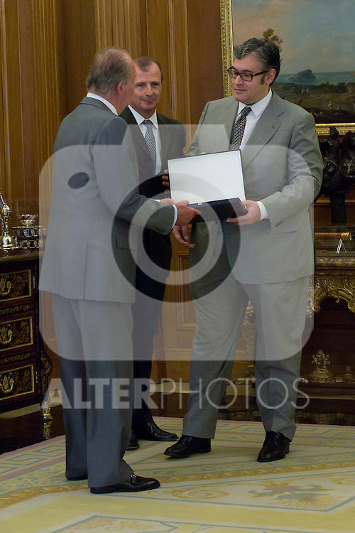 12.09,2012. King Juan Carlos I of Spain attend the delivery of 'XXIII FIES Journalism Award', awarded to Juan Manuel de Prada at the Zarzuela Palace. In the image (L-R) King Juan Carlos, Rafael Guardans  (President of FIES) and Juan Manuel de Prada (Alterphotos/Marta Gonzalez)