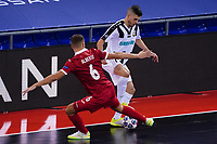 9th October 2020; Palau Blaugrana, Barcelona, Catalonia, Spain; UEFA Futsal Champions League Finals; Mrucia FS versus MFK Tyumen;   Ivan Milanov of Tyumen takes on Alberto