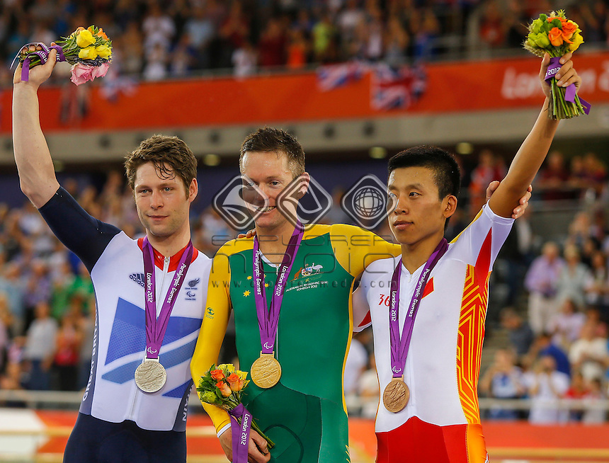 The Men's Individual Pursuit Gold Medalists (L-R) Jon-Allan Butterworth (GB) Micheal Gallagher (AUS) Xinyang Liu (CHN),Track Cycling (Sat 1 Sep) - Velodrome,Paralympics - Summer / London 2012, London, England 29 Aug - 9 Sept , © Sport the library/Greg Smith