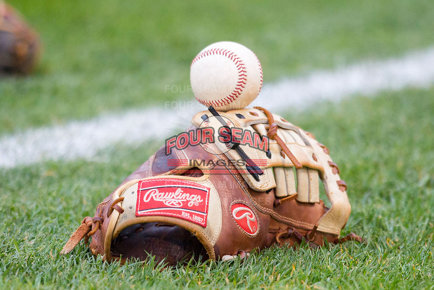 Rawlings baseball glove on May 12, 2016 at Cooley Law School Stadium in Lansing, Michigan. (Andrew Woolley/Four Seam Images)