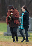 MONROE, CT 17 DECEMBER- 121712JS06- Veronique Pozner, makes her way to the gravesite with a family member at the funeral of her son Noah Pozner, 6, the youngest victim of the shooting Friday at Sandy Hook Elementary School in Newtown.  Noah was laid to rest at B'nai Israel Cemetery on Moose Hill Road in Monroe. Memorial contributions may be directed to the planting of trees in Israel. .Jim Shannon Republican American