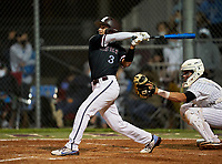 Riverview Rams Carter Knight (3) bats during a game against the Sarasota Sailors on February 19, 2021 at Rams Baseball Complex in Sarasota, Florida. (Mike Janes/Four Seam Images)
