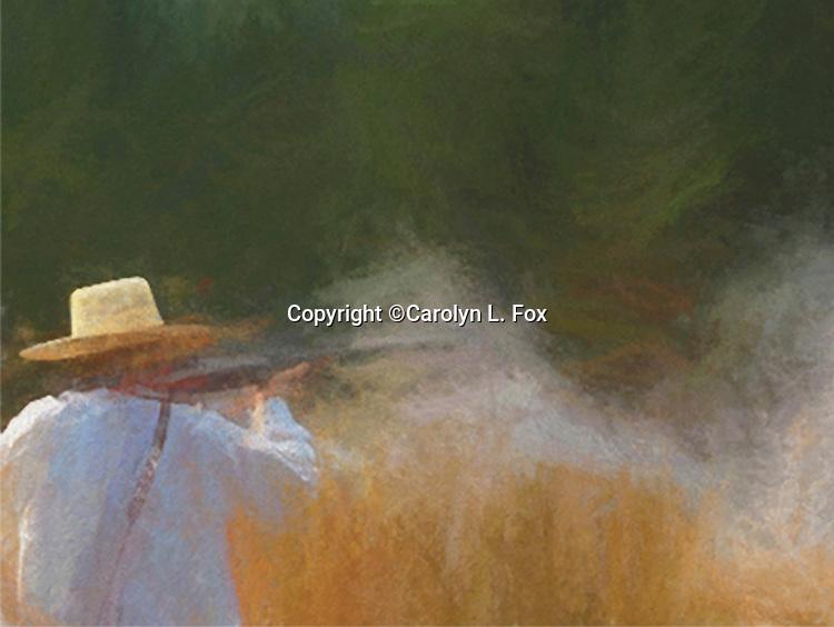 cowboy, shooting, rifle, western, trees, smoke, gunfire