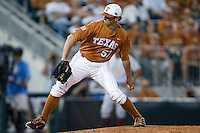 Texas Longhorns pitcher Andrew McKirahan #57 delivers against the Arizona State Sun Devls in NCAA Tournament Super Regional baseball on June 10, 2011 at Disch Falk Field in Austin, Texas. (Photo by Andrew Woolley / Four Seam Images)