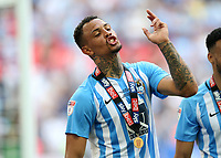 28th May 2018, Wembley Stadium, London, England;  EFL League 2 football, playoff final, Coventry City versus Exeter City; Jonson Clarke-Harris of Coventry City celebrates with a winners medal