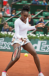 Venus Williams (USA) struggles against Anna Schmiedlova (SVK), splitting the first two sets at  Roland Garros being played at Stade Roland Garros in Paris, France on May 28, 2014