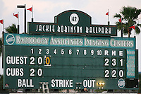 April 16, 2009:  Scoreboard at Jackie Robinson Stadium in Daytona Beach, FL.  Photo by:  Mike Janes/Four Seam Images