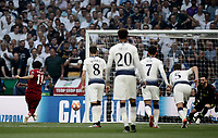 Liverpool's Mohamed Salah, left, kicks to score on a penalty kick during the UEFA Champions League final football match between Tottenham Hotspur and Liverpool at Madrid's Wanda Metropolitano Stadium, Spain, June 1, 2019.<br /> UPDATE IMAGES PRESS/Isabella Bonotto