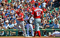 10 June 2012: Washington Nationals first baseman Adam LaRoche makes a play as Nick Punto tries to slide head first into the bag during action against the Boston Red Sox at Fenway Park in Boston, MA. The Nationals defeated the Red Sox 4-3 to sweep their 3-game interleague series. Mandatory Credit: Ed Wolfstein Photo